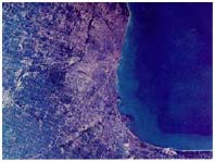Infrared images, infrared photos of US cities, infrared photos of earth, Infrared photo of Chicago